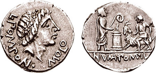 http://commons.wikimedia.org/wiki/Category:Goats_in_art#/media/File:Pomponius_Molo_Denarius_97_BC_680844.jpg