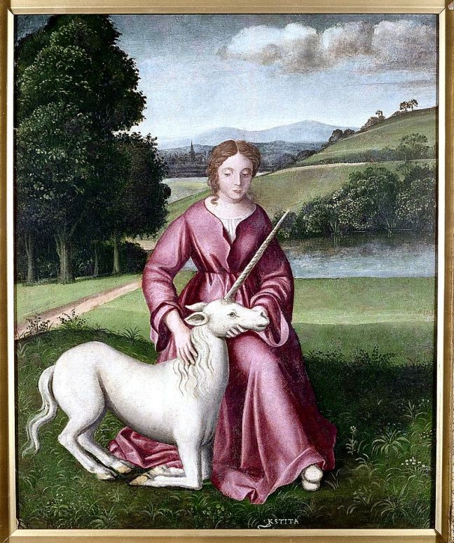 https://commons.wikimedia.org/wiki/Category:Virgins_in_art#/media/File:Chastity_(a_virgin_and_a_unicorn)._Oil_painting_by_a_followe_Wellcome_L0000174.jpg