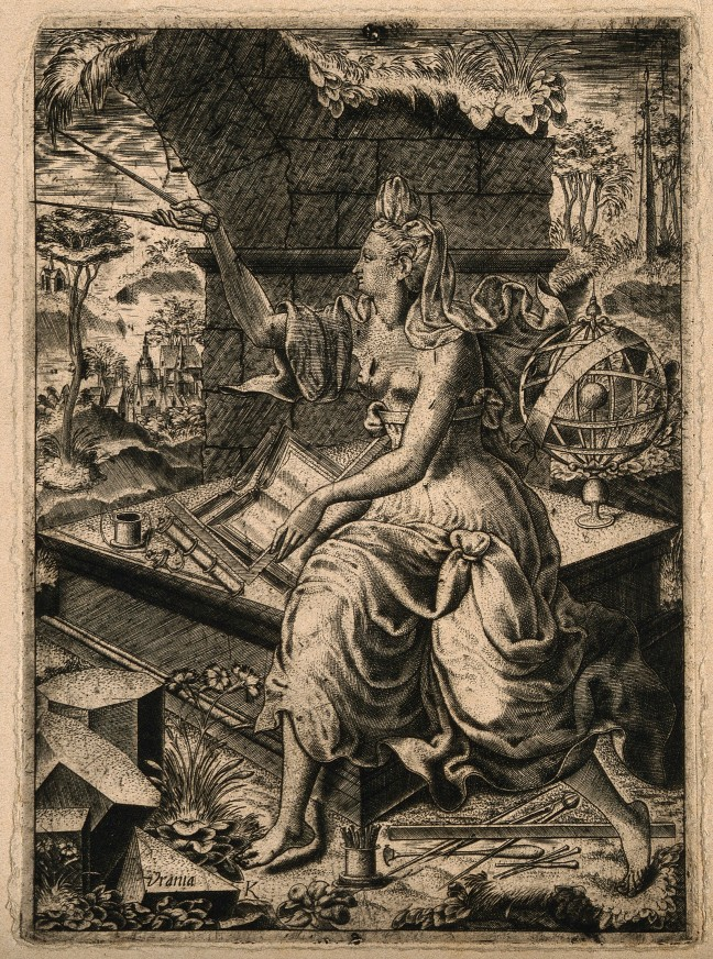 V0007533 Urania, the muse of astronomy. Engraving by L. Kilian (?), 1 Credit: Wellcome Library, London. Wellcome Images images@wellcome.ac.uk http://wellcomeimages.org Urania, the muse of astronomy. Engraving by L. Kilian (?), 16--. after: Lukas KilianPublished:  -   Copyrighted work available under Creative Commons Attribution only licence CC BY 4.0 http://creativecommons.org/licenses/by/4.0/