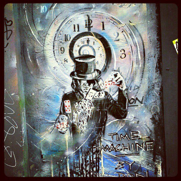 Graffiti_in_Shoreditch,_London_-_Time_Machine_by_Paul_Don_Smith_(9425007440)